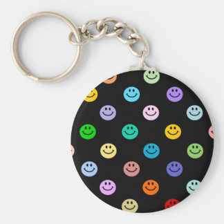 Rainbow Multicolor Smiley Face Pattern Basic Round Button Key Ring