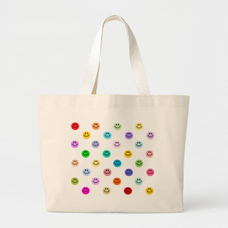 Rainbow Multicolor Smiley Face Pattern Large Tote Bag