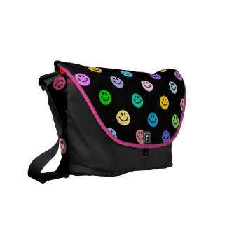 Rainbow Multicolor Smiley Face Pattern Courier Bag