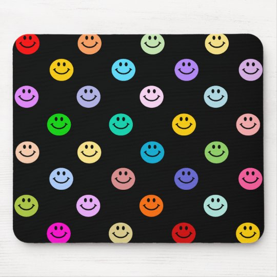 Rainbow Multicolor Smiley Face Pattern Mouse Mat