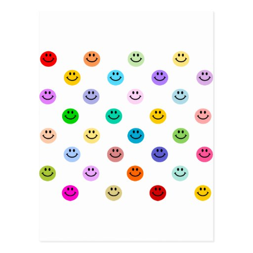 Rainbow Multicolor Smiley Face Pattern Post Cards