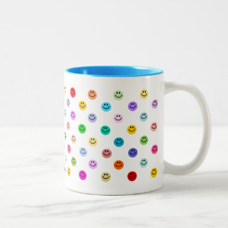 Rainbow Multicolor Smiley Face Pattern Two-Tone Mug
