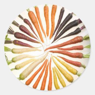 Rainbow Multicolored Carrots Round Sticker