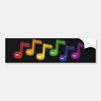 Rainbow Music Notes Black Bumper Sticker