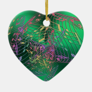 Rainbow Music Notes Heart Green Christmas Ornament