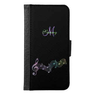 Rainbow Music Notes Staff Galaxy S6 Wallet Case