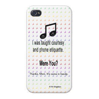 Rainbow Musical Happy Note Phone Manners Cases For iPhone 4