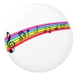 Rainbow Musical Notes score Ceramic Knob