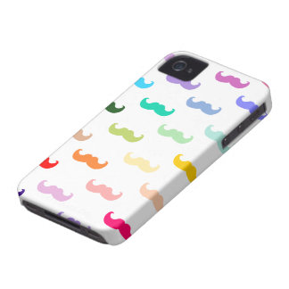 Rainbow Mustache pattern on white iPhone 4 Cover