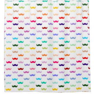 Rainbow Mustache Shower curtain