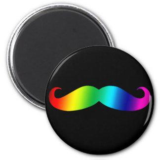 Rainbow Mustache T-shirt 6 Cm Round Magnet