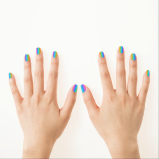 Rainbow nails minx nail art