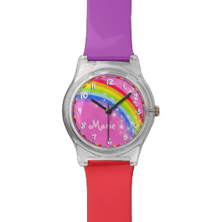 Rainbow named pink multi-coloured watch