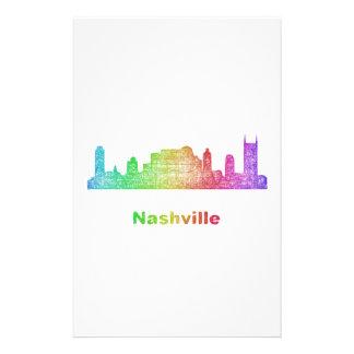 Rainbow Nashville skyline Personalized Stationery