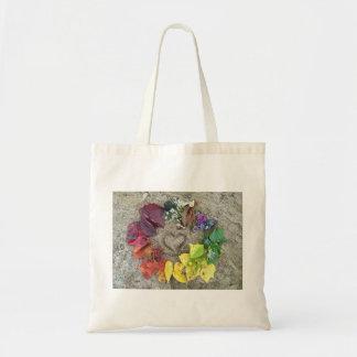 rainbow nature wreath tote bag