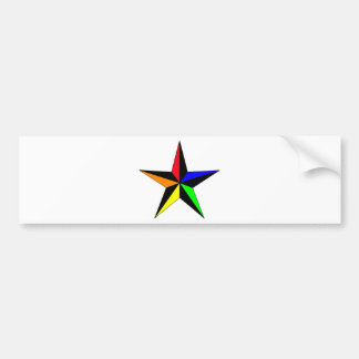 Rainbow Nautical Star Bumper Sticker