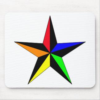 Rainbow Nautical Star Mouse Pad