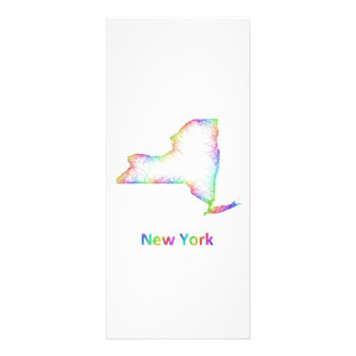 Rainbow New York map Full Colour Rack Card