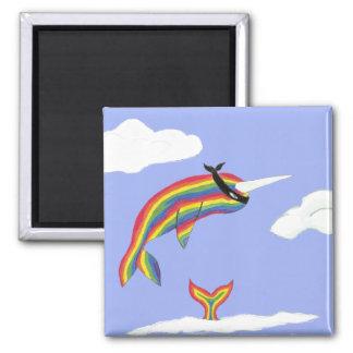 Rainbow Ninja Narwhal Magnet