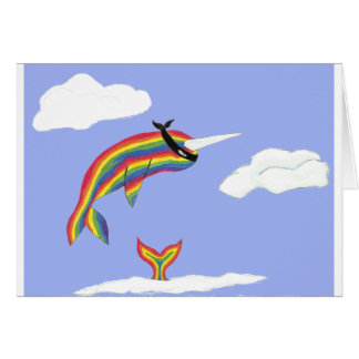 Rainbow Ninja Narwhal That Flies Card