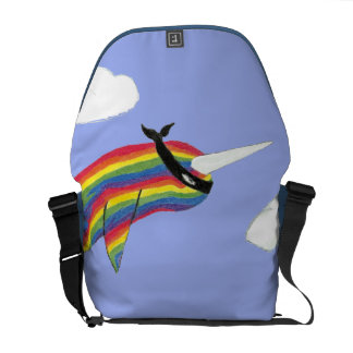 Rainbow Ninja Narwhal That Flies Rickshaw Messenge Courier Bags