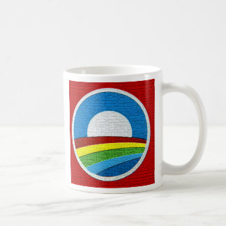Rainbow Obama  Circle Design Basic White Mug
