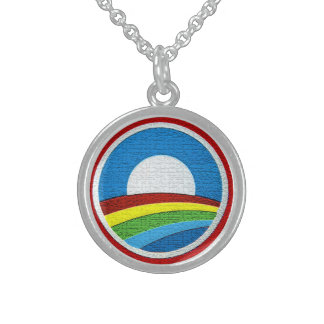 Rainbow Obama Logo Sterling Silver Necklace