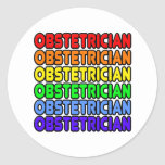 Rainbow Obstetrician Round Stickers