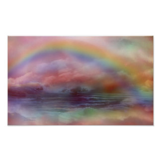 Rainbow Ocean Art Poster/Print