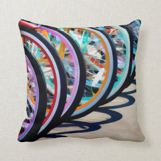 Rainbow of Bicycles Cushion