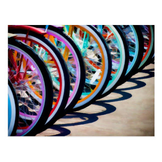 Rainbow of bicycles postcard