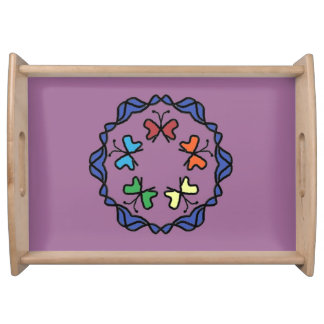 Rainbow of Butterflies Serving Tray