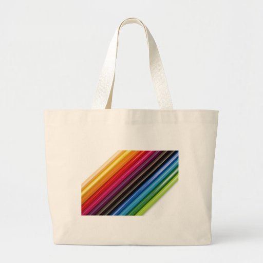 Rainbow of coloured pencils tote bags