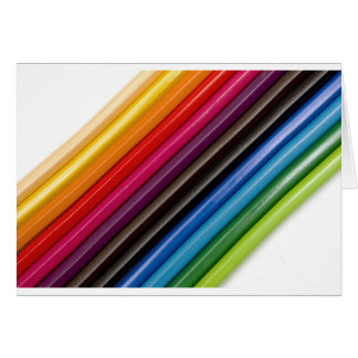 Rainbow of coloured pencils greeting card