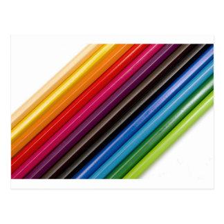 Rainbow of coloured pencils postcard