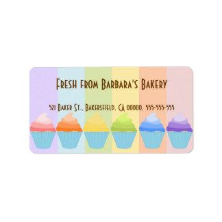 Rainbow of Cupcakes Label