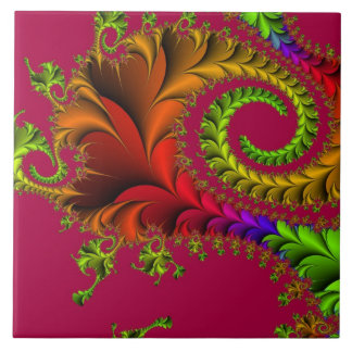 Rainbow of Fractal Art Large Square Tile