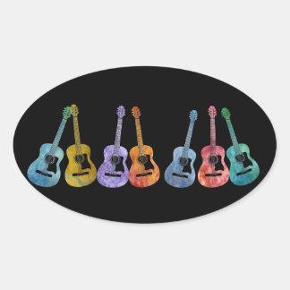 Rainbow of Guitars Oval Sticker