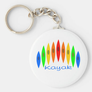 Rainbow of Kayaks Basic Round Button Key Ring