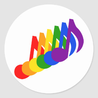 Rainbow of Musical Notes Classic Round Sticker