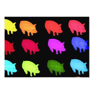 Rainbow Of Piggies 13 Cm X 18 Cm Invitation Card