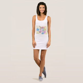 rainbow of unicorn sleeveless dress