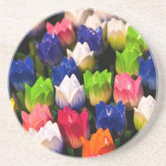 Rainbow of Wooden Tulips Coaster
