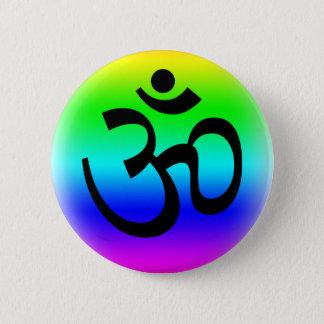 Rainbow Om 6 Cm Round Badge