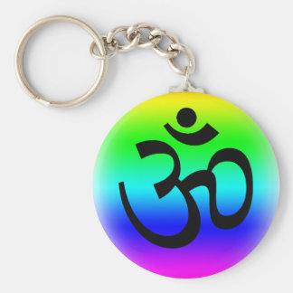 Rainbow Om Basic Round Button Key Ring