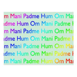 Rainbow Om Mani Padme Hum (on Baby Blue) Postcards