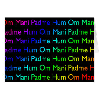 Rainbow Om Mani Padme Hum (on Black) Greeting Card