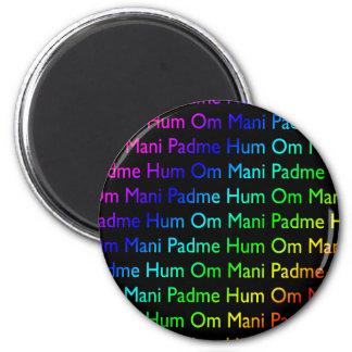 Rainbow Om Mani Padme Hum on Black Fridge Magnet