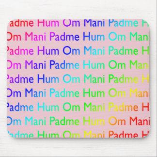 Rainbow Om Mani Padme Hum on Pink Mousepad