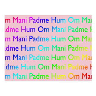 Rainbow Om Mani Padme Hum (on Pink) Postcard